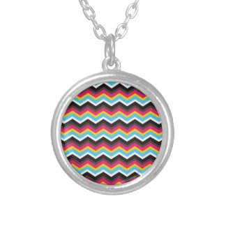 Colorful Pink Yellow Blue Chevron Stripes Zig Zag Silver Plated Necklace