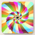 Colorful Pinwheel Abstract Design Drink Coasters
