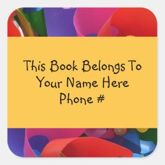 Colorful Pinwheel Book Name Plate Sticker Sticker