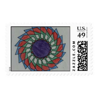 Colorful Pinwheel Graphic Postage Stamps