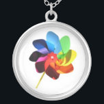 """Colorful Pinwheel Necklace<br><div class=""""desc"""">Accessorize with this fun and colorful pinwheel necklace!</div>"""
