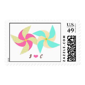 Colorful Pinwheel Themed Wedding Postage