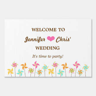Colorful Pinwheel Themed Wedding Sign