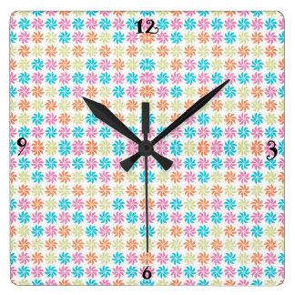 Colorful Pinwheel Wall Clock