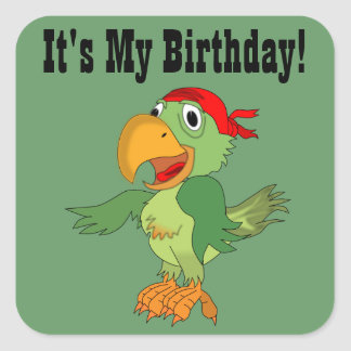 Colorful Pirate Parrot Green Birthday Sticker