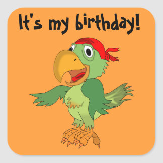 Colorful Pirate Parrot  on Orange Birthday Sticker