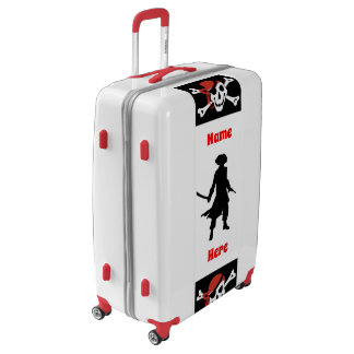 Colorful Pirate Skull w/ Silhouette & Your Name Luggage