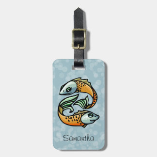 Colorful Pisces Fish on Blue Bag Tag