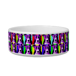 Colorful Pit Bull Graphic Dog Food Bowl