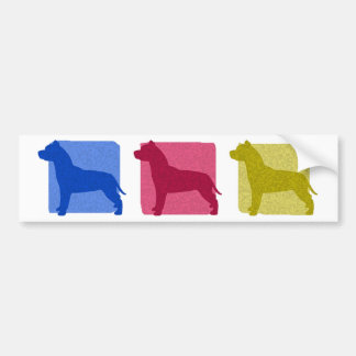 Colorful Pit Bull Silhouettes Bumper Stickers