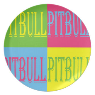 Colorful Pitbull plate