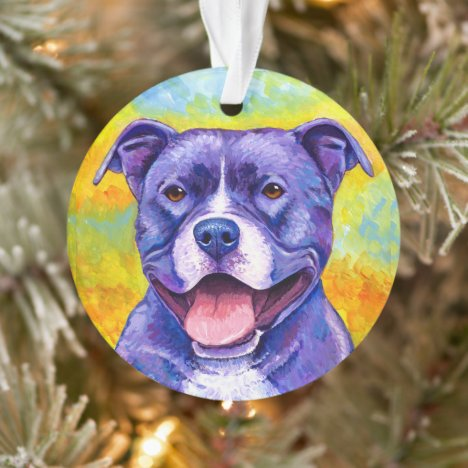 Colorful Pitbull Terrier Dog Acrylic Ornament