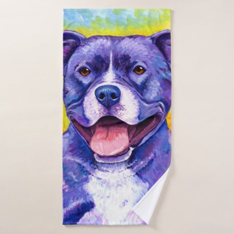 Colorful Pitbull Terrier Dog Bath Towel Set