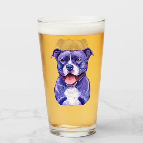 Colorful Pitbull Terrier Dog Glass Cup