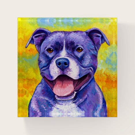 Colorful Pitbull Terrier Dog Paperweight