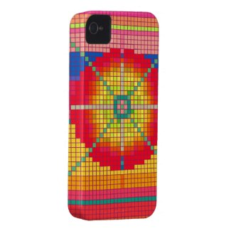 Colorful Pixel Art Abstract Pattern iPhone 4 Case