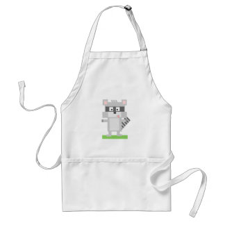 Colorful Pixelated Raccoon Sticking Out Tongue Aprons