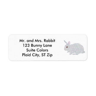 Colorful Plaid Bunny Rabbit Address Labels