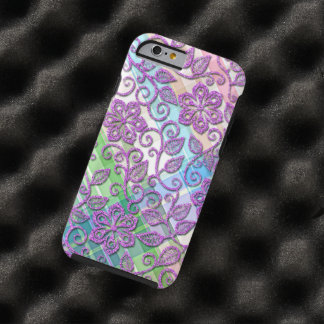 Colorful Plaid Faux Pink Glitter Floral Pattern Tough iPhone 6 Case