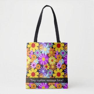 Colorful Plaid Floral Pattern Tote Bag