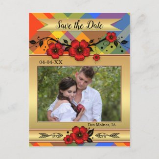 Colorful Plaid Floral Photo Save the Date Postcard