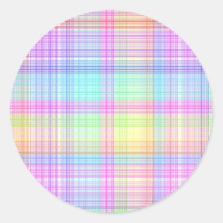 Colorful Plaid Pattern Classic Round Sticker
