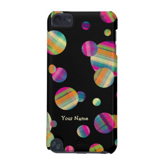 Colorful Plaid Polka Dots w/Name (iPod Touch Case) iPod Touch 5G Cases
