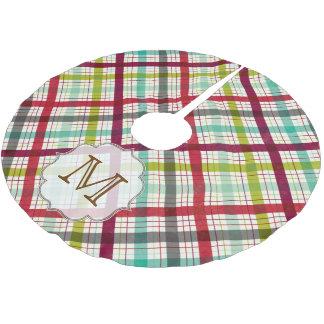 Colorful Plaid Tartan Monogram Initial Tree Skirt