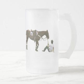 Colorful Plain Resting Horse Glass Mug
