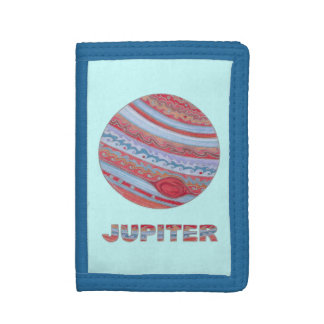 Colorful Planet Jupiter Geek Fun Billfold Trifold Wallet