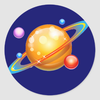 Colorful Planets Classic Round Sticker