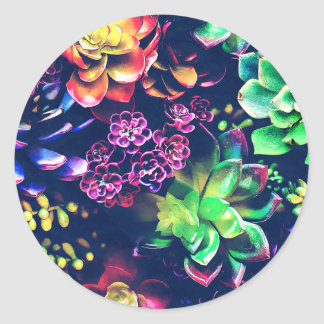 Colorful Plants Classic Round Sticker
