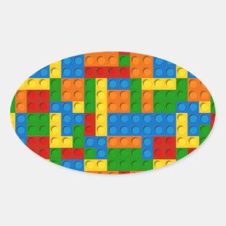 colorful plastic blocks oval sticker