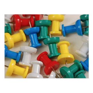 Colorful plastic push pins post card