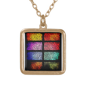 colorful plated gold neclace square pendant necklace