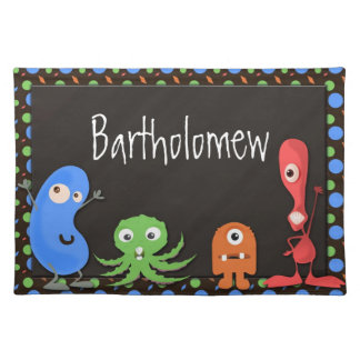 Colorful Playful Monsters Boys Cloth Placemat