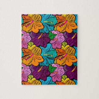 Colorful Playful Multi-Colored Hibiscus Puzzles