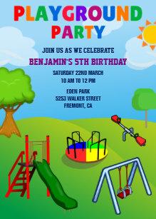 Playground party gifts on zazzle colorful playground kids park birthday invitation filmwisefo