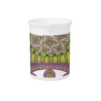 Colorful Plum Yellow lace decorative ethnic patter Beverage Pitcher