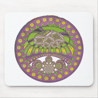 Colorful Plum Yellow lace decorative ethnic patter Mouse Pad