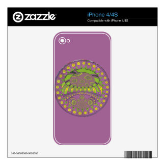 Colorful Plum Yellow lace decorative ethnic patter Skin For The iPhone 4S