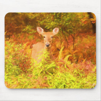 Colorful Poconos Deer in Autumn Painting Mouse Pad