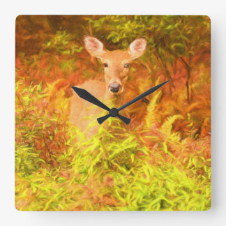 Colorful Poconos Deer in Autumn Painting Square Wall Clock