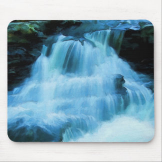 Colorful Poconos Waterfall Painting Mouse Pad