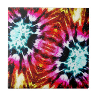 Colorful Poinsettia Abstract Small Square Tile