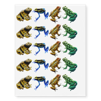 Colorful Poison Dart Frogs Temporary Tattoo