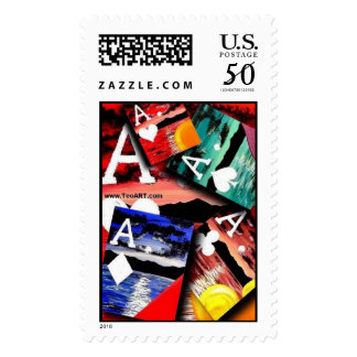 Colorful Poker Art Aces Stamps