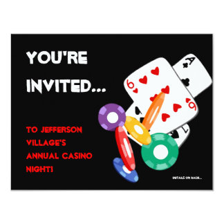 Colorful Poker Chips Vegas Casino Night Invitation