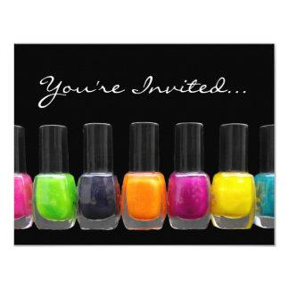 Colorful Polish Bottles, Nail Salon Manicure Party 4.25x5.5 Paper Invitation Card