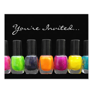 Colorful Polish Bottles, Nail Salon Manicure Party Card